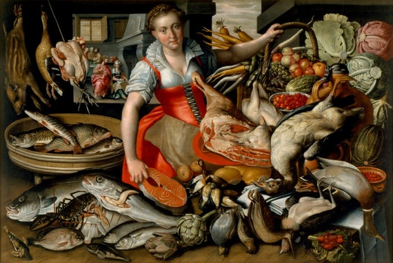 Market Scene with Fish and Meat Vendor; Background with Christ in the House of Martha and Mary