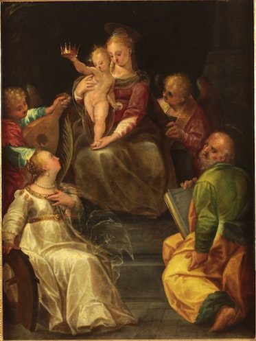 Holy Family with Saint Catherine of Alexandria and Angels